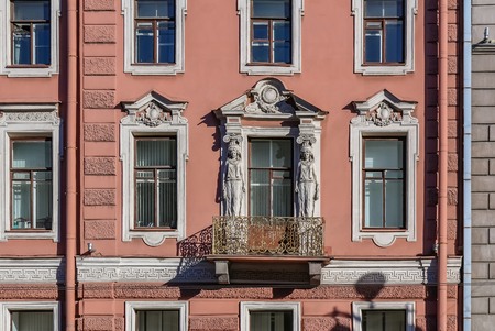 Beautiful facades decorated with statues on Nevsky Prospect in Saint Petersburg Russia