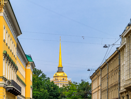 View of the Admiralty or Admiralteystvo with the spire in Saint Petersburg, Russia