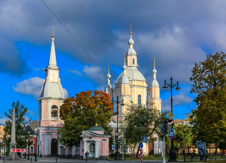 Saint Petersburg, Russia - October 05, 2015:  St. Andrews Cathedral on Vasilievsky Ostrov, last baroque cathedral built in Saint Petersburg, Russia