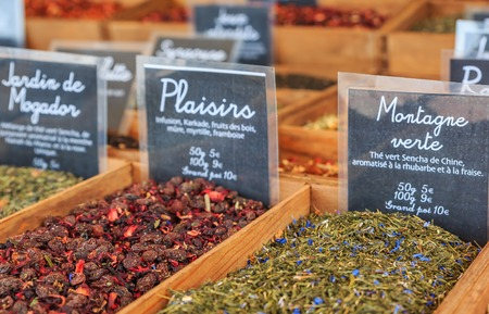 Exotic flavored teas with rhubarb, strawberry, hibiscus and other flavors for sale at a local outdoor farmers market in Nice, France