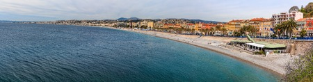 Panoramic view of Nice coastline and beach on the Mediterranean Sea, Cote dAzur, France