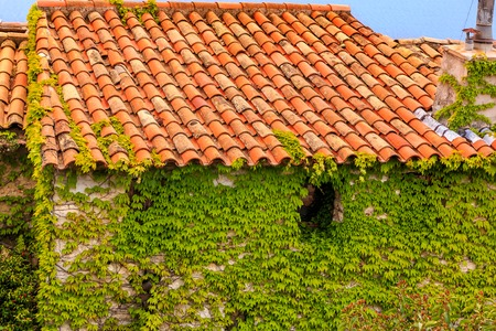 Scenic view of the medieval rooftops and ivy covered walls in the town of Eze village on the French Riviera Фото со стока
