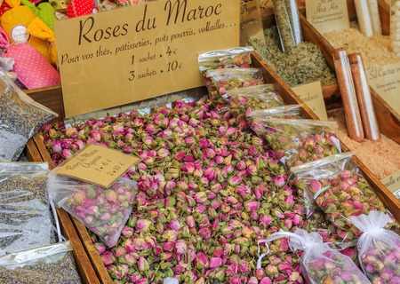 Exotic dried Moroccan rose buds  for sale at a local outdoor farmers market in Nice, France