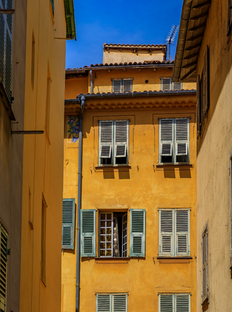View of old traditional houses in the narrow streets in the Old Town Vielle Ville in Nice in the South of France Reklamní fotografie
