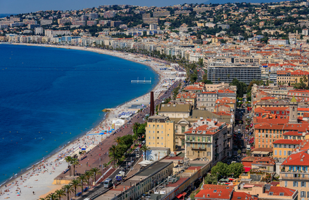 Nice cityscape, the Old Town Vieille Ville from Castle Hill or Colline du Chateau in Nice French Riviera on the Mediterranean Sea, Cote dAzur, France