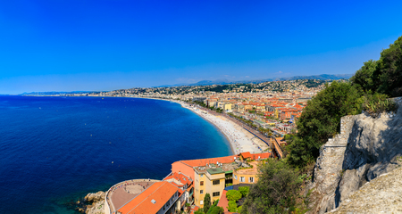 Nice cityscape, Old Town, Vieille Ville from Castle Hill or Colline du Chateau in Nice, French Riviera on the Mediterranean Sea, Cote dAzur, France