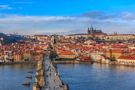 View onto Prague Castle from Charles Bridge a.k.a. Stone Bridge, Kamenny most, Prague Bridge, Prazhski most on Vltava river in Prague, Czech Republic