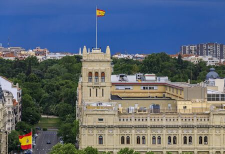 Aerial view of the ornate building of the Cuartel General de la Armada or headquarters of the Spanish Navy located on Paseo del Prado in Madrid, Spain