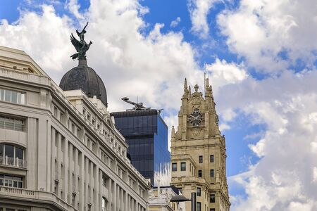 Madrid, Spain - June 5, 2017: View of Edificio Telefonica and other buildings on Gran Via shopping street in the center of the city Editorial