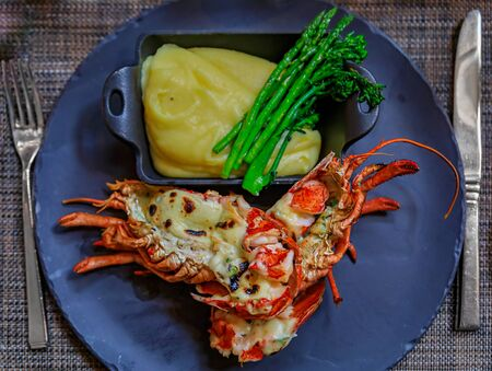 Whole grilled lobster on a plate at a luxury restaurant, served with cheesy mashed potatoes and fresh green asparagus spears in Vancouver, Canada Imagens