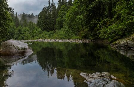 Pine trees and cloudy sky reflecting in the crystal clear water of a lake on a cloudy day in Lynn Canyon Park forest in Vancouver, Canada