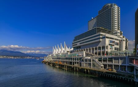 Vancouver, Canada - July 09, 2019: Canada Place Five Sails In Downtown Vancouver