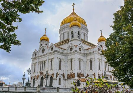 Famous orthodox Cathedral Of Christ the Savior on a cloudy day in Moscow, Russia
