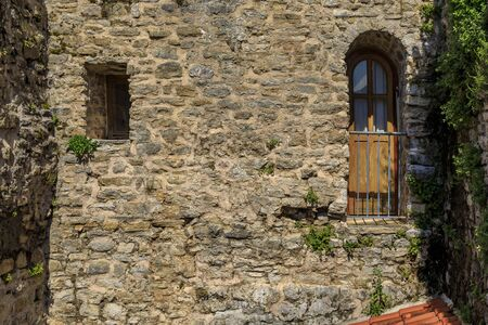 Picturesque stone walls of the 15th century Citadel in the Old town in Budva Montenegro in the Balkans on Adriatic Sea