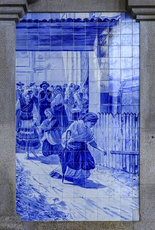 Elaborate 19th-century azulejo tilework in the main vestibule hall of Porto Sao Bento, public train station in Porto, Portugal famous for the tiles