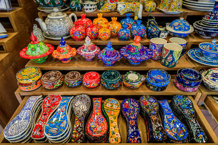 Traditional Montenegrin hand painted decorative pottery with a floral pattern for sale in at a souvenir shop in Kotor old town in Montenegro 写真素材