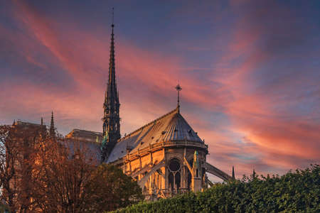 Eastern facade of Notre Dame de Paris Cathedral with flying buttresses and ornate gothic spire colored by the warm light of sunset in Paris, France