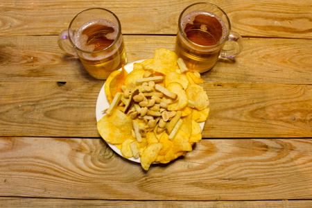 Beer snacks. Chips, nuts, crackers
