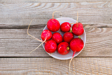 Red radish in a plate on rustic wooden table