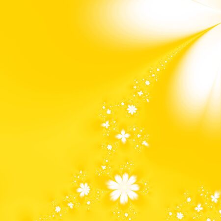 Abstract fractal yellow background with a garland of white flowers Stock Photo
