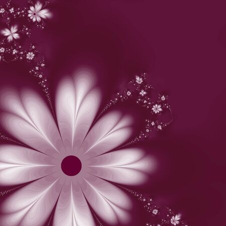 burgundy: Abstract fractal flowers on burgundy background