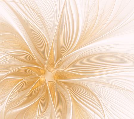Abstract fractal flower with rays on a light background Stock Photo
