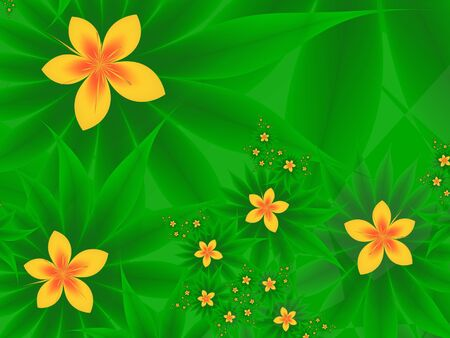 Abstract fractal flowers on a green background. Buttercups
