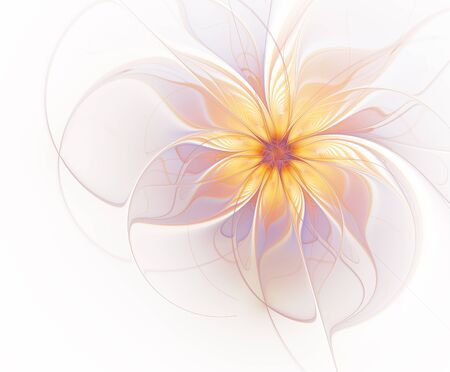Abstract fractal flower in golden and purple color on a white background Stok Fotoğraf