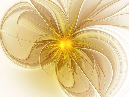 Golden flower on a white background Archivio Fotografico