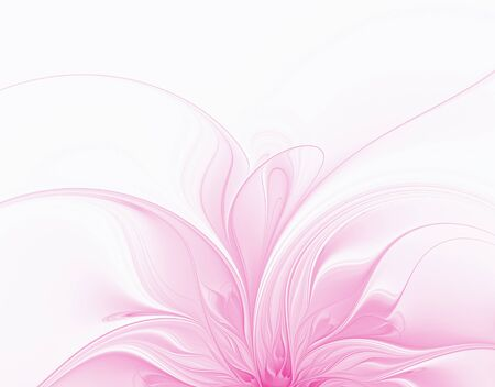 Abstract fractal pink flower on a white background
