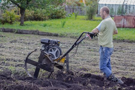 A man in a light jacket and jeans in the garden harvests potatoes using a cultivator. Agricultural work in the garden in the fall