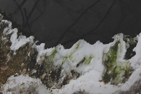 Beautiful winter, icy snowy light abstract background and dark river. Pieces of plants and green algae with air bubbles frozen in a fresh layer of ice on the river. Copy space, place for text