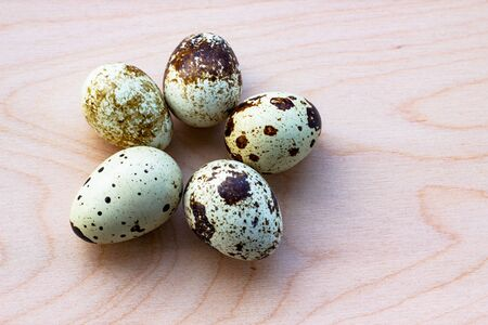 Quail eggs on a wooden background. Five spotted eggs, isolate. View from above. Place for text, copy space