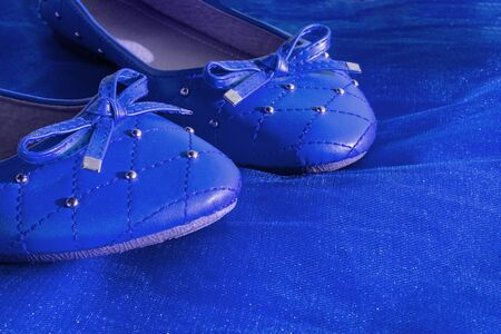 Blue women shoes isolated on blue mesh fabric. A pair of dark blue womens flat shoes, copy space, boutique womens shoes.