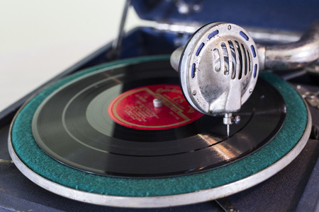 Vintage old record player gramophone