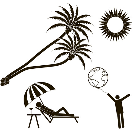 el mundo en tus manos: vacaciones de verano, palmeras, el sol brillante. El mundo en sus manos. Figura de palo Foto de archivo