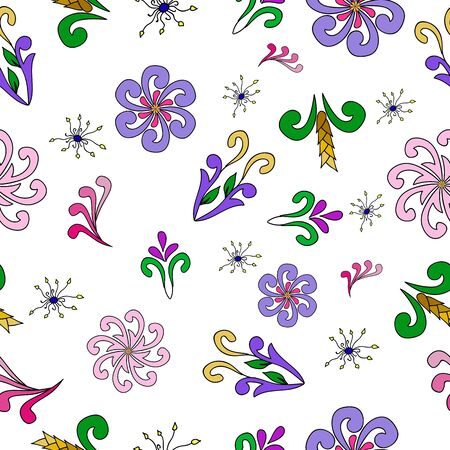 bitmap: Seamless floral pattern on a white background. Flowers, ears. Individual elements for design. Bitmap illustration Stock Photo