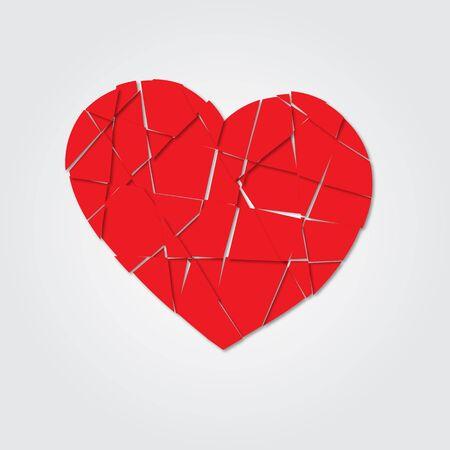shards: Red heart. Broken heart. Shards of the heart. Icon broken heart. Raster illustration