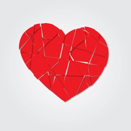 Red heart. Broken heart. Shards of the heart. Icon broken heart. Raster illustration
