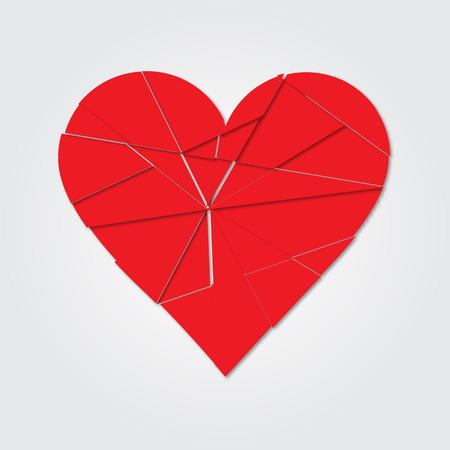 torn heart: Red heart. Broken heart. Shards of the heart. Icon broken heart. Raster illustration