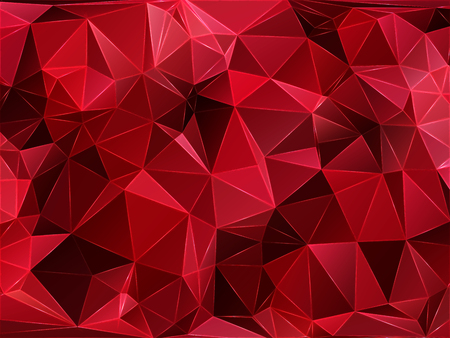 Abstract geometric pattern composed of triangular polygons. Polygon background. Triangulated wallpaper. Triangulated red background. Raster illustration.