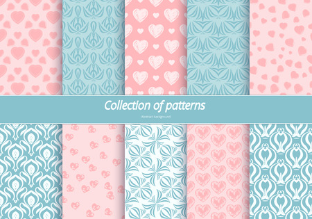 admire: Set of seamless patterns. Romantic background with pastel colors. Backdrop with hearts and stylized flowers. Delicate ornament for design. illustration. Illustration