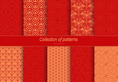 fine lines: Set of seamless ornaments. East stylized pattern. Background of fine lines for wrapping paper, textile, decorating banners. illustration.