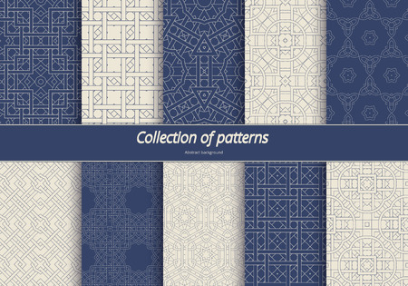 sophisticate: Set in an arabian style patterns. Seamless ethnic tracery. Geometric ornament in blue tones. Stylized arabesques decorating. illustration.