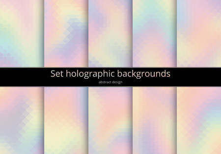 impish: Set holographic backgrounds. Multicoloured backdrop for design. Abstract gradient design in pink, blue, yellow, magenta. Rainbow pastel art. Kit of bright illustration. Illustration