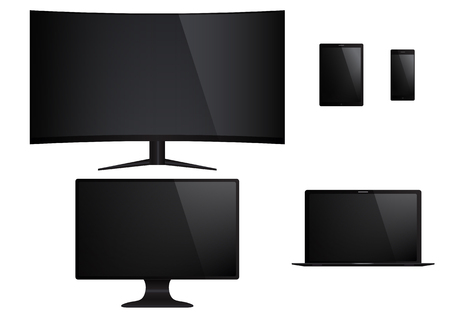 retina display: Set of isolated electronic gadgets. Desktop, tablet pc, tv, mobile phone, laptop.