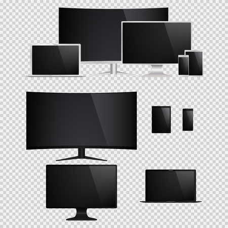 fullhd: Set of isolated electronic gadgets. Desktop, tablet pc, mobile phone, laptop. Illustration