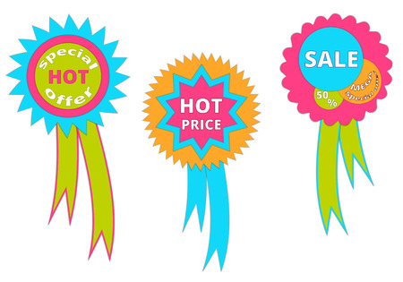 Set of banners with hot offers for sales. Illustration