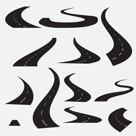 carriageway: Curved road on a white background. A set of segments with white markings. Illustration