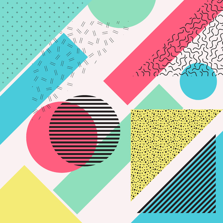 impish: Abstract illustration. Retro pattern. Seamless print. Vintage backdrop. Bauhaus graphic. Memphis ornament. Hipster background. Futuristic wallpaper. Geometry design